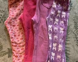 4 delat paket med mjukisbyxor i rosa och lila toner stl 86