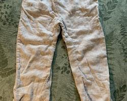 Vit och beige randiga linnemix byxor från Lupilu stl 92