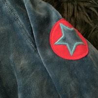 Petrolfärgad tröja med dragkedja och fickor från Villervalla stl 86