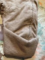 Ljusbrun melerad lättfodrad overall i mjukt tyg med stickade detaljer från Newbie stl 56