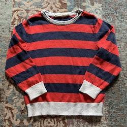 Mörkblå, röd och ljusgrå stickad randig tröja från HM stl 98/104