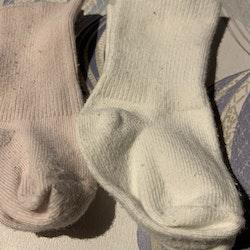Tre par strumpor i rosa och vitt stl 1-6 mån