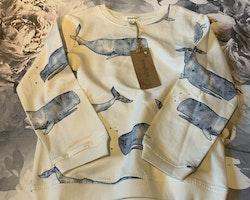 Paket i presentkartong med: Ett par jeans, en tröja med valar och fyra par strumpor från Newbie stl 98, 98/104 & 23/26