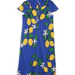 Blå kortärmad skjortklänning med citroner från Mini Rodini stl 104/110