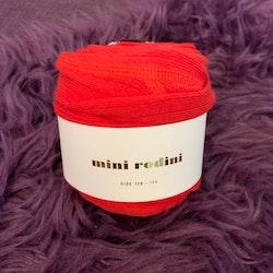 Stickade leggings i rött och vitt med mörkblått hjärta nedtill från Mini Rodini stl 128/134