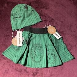 Set i grönt med svart rävprint från Mini Rodini stl 92/98 & 48/50