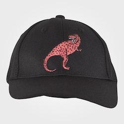 Svart keps med en broderad rosa dinosaurie från Mini Rodini stl 52/54