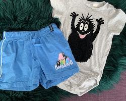 Grå kortärmad body och blå shorts med Barbapapa från HM & Åhléns stl 86 + 86/92