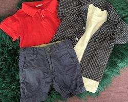 4 delat paket med sommarplagg i rött, mörkblått och vitt stl 86-92