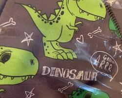 2 delat set med en grå softshelloverall med gröna dinosaurier och vitt texttryck och en svart mössa från iELM stl 110 + 54