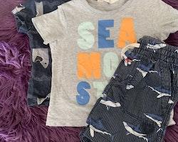 3 delat paket med två t-shirts och ett par shorts med hajar stl 86/92 & 92