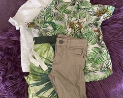 4 delat paket i vitt, grönt, beige och naturmönster från HM stl 92