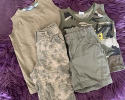 4 delat paket i khaki bestående av shorts och ärmlösa t-shirts stl 92