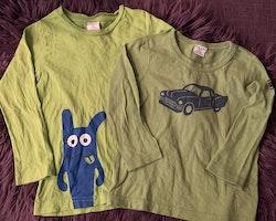 3 delat grönt paket med två tröjor med bil resp filur på och ett par manchesterbyxor från PoP stl 98