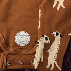 Brunt set med surikater bestående av en omlottbody och ett par leggings från Lindex stl 56