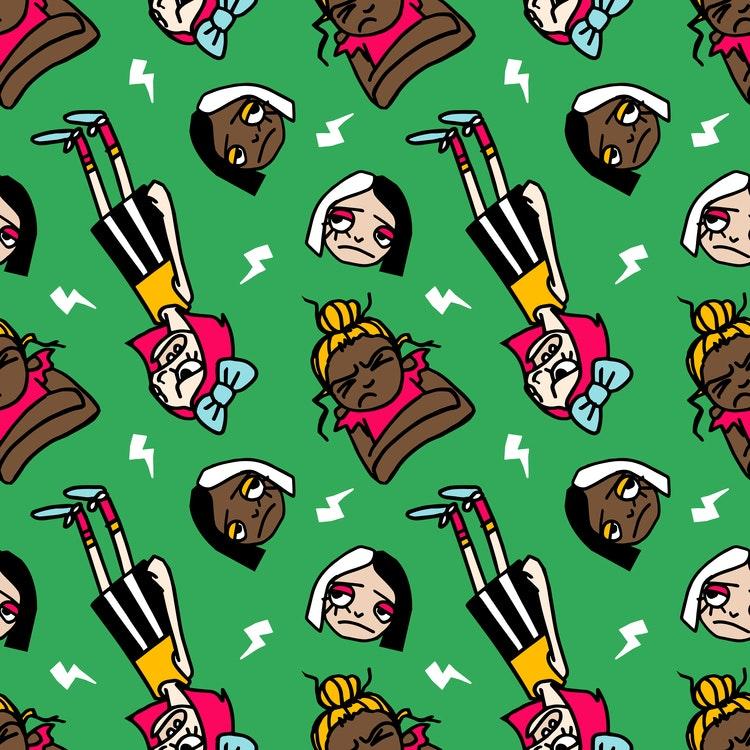 2:a sortering bomullsjersey Grumpy Grrls Green