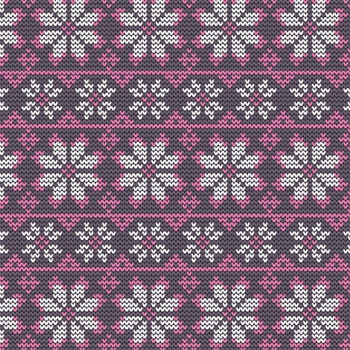 Bomullsjersey Stickad rosa vit snöflinga GOTS