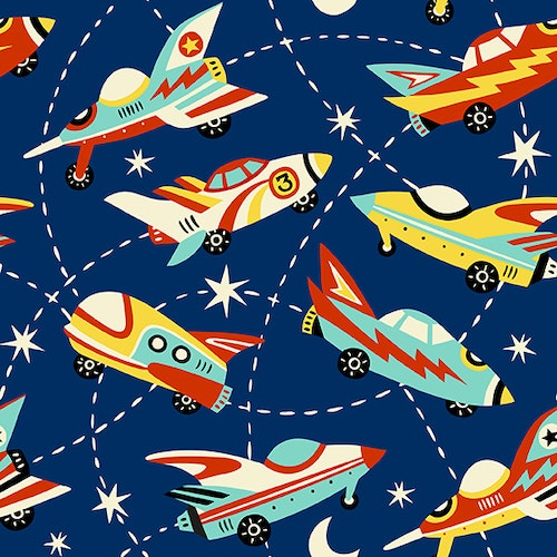 Bomullsjersey Space Cars