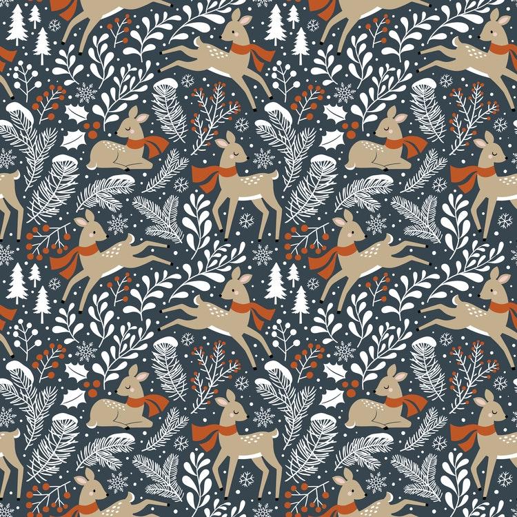 Bomullsjersey Winter Deer