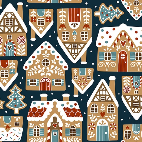Bomullsjersey Gingerbread Houses