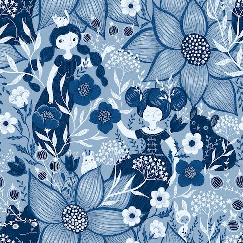 Bomullsjersey Blue Monochrome