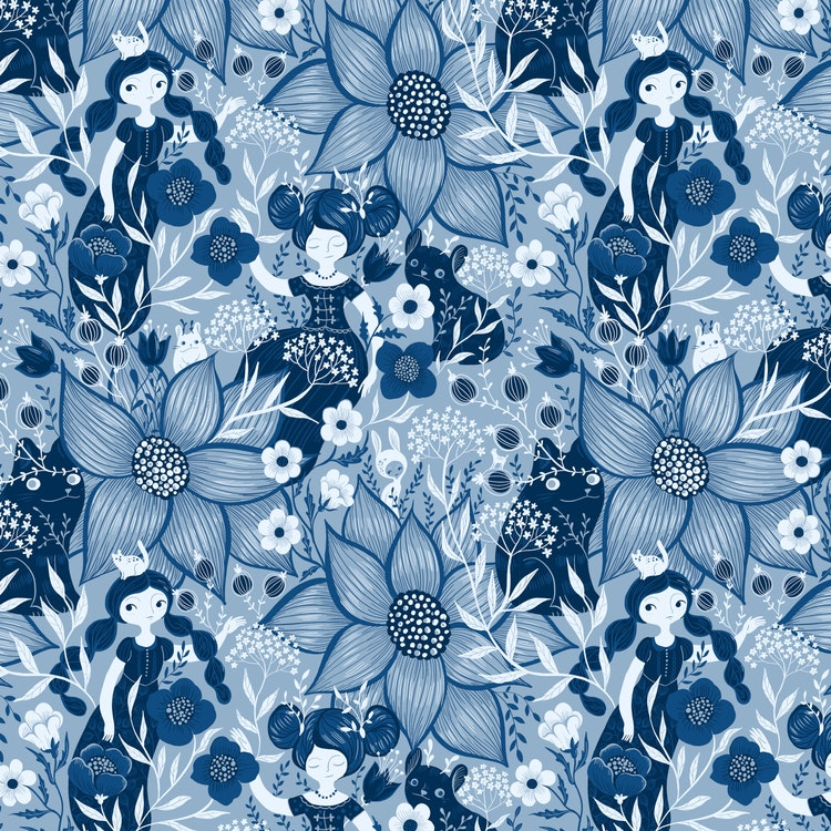 FÖRHANDSBOKNING! Bomullsjersey Blue Monochrome