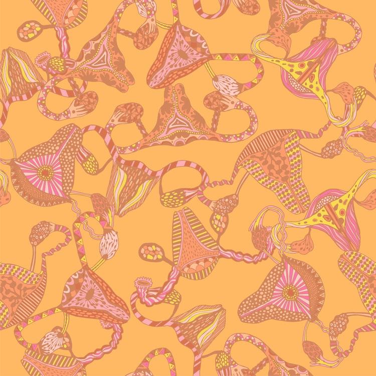 Bomullsjersey Uterus Yellow & Blush