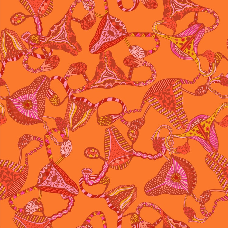 Bomullsjersey Uterus Orange Pink