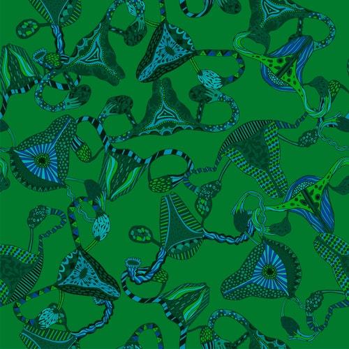 Bomullsjersey Uterus Green & Blue
