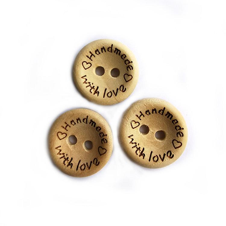 Träknapp Handmade with love 15 mm