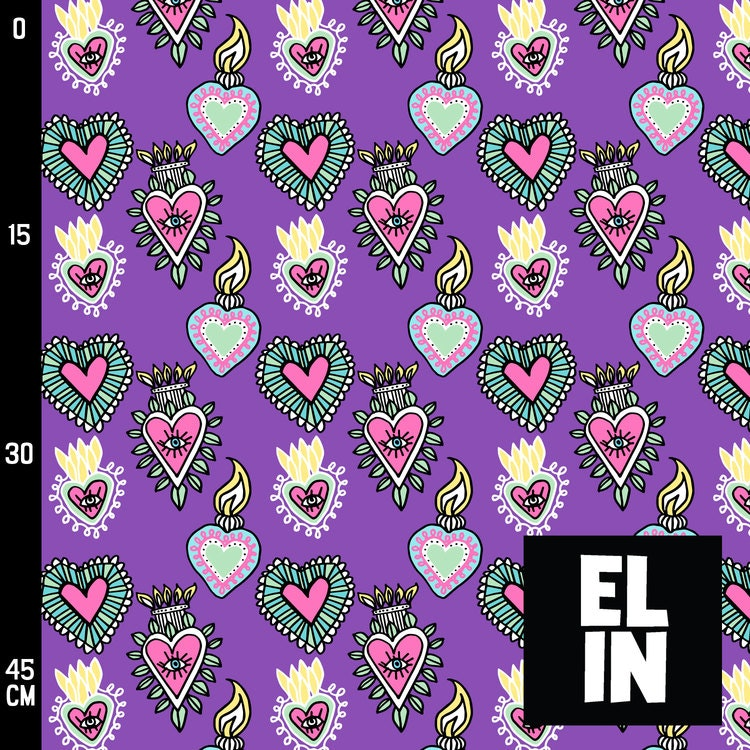 2:a sortering Bomullsjersey Burning Hearts Light Purple