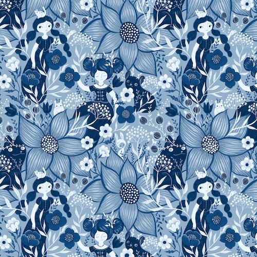 Bomullscanvas Blue Monochrome