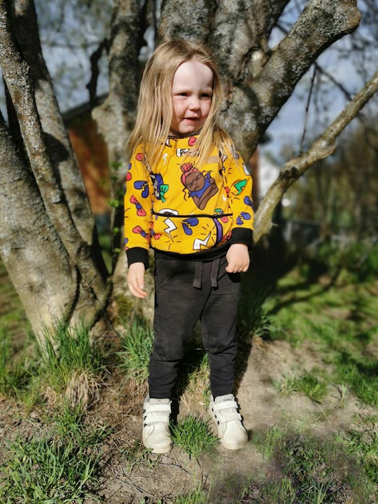 Bomullsjersey Grumpy Bows Yellow