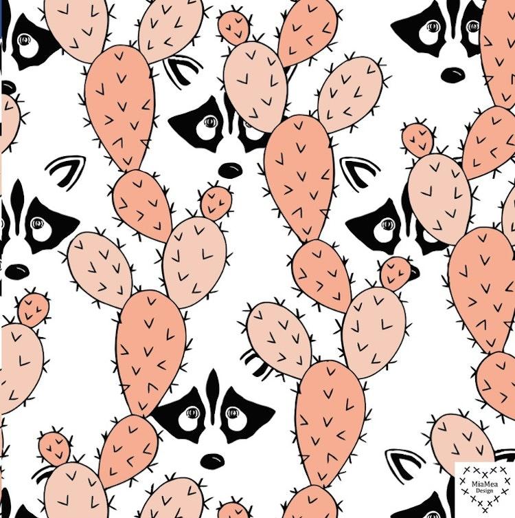 Bomullsjersey Peekaboo Racoons Peach