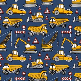 FÖRHANDSBOKNING! Bomullsjersey Construction Cars Dark Blue