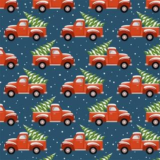 FÖRHANDSBOKNING! Bomullsjersey Christmas Trucks Dark Blue