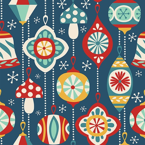 FÖRHANDSBOKNING! Bomullsjersey Vintage Christmas Ornaments Dark Blue