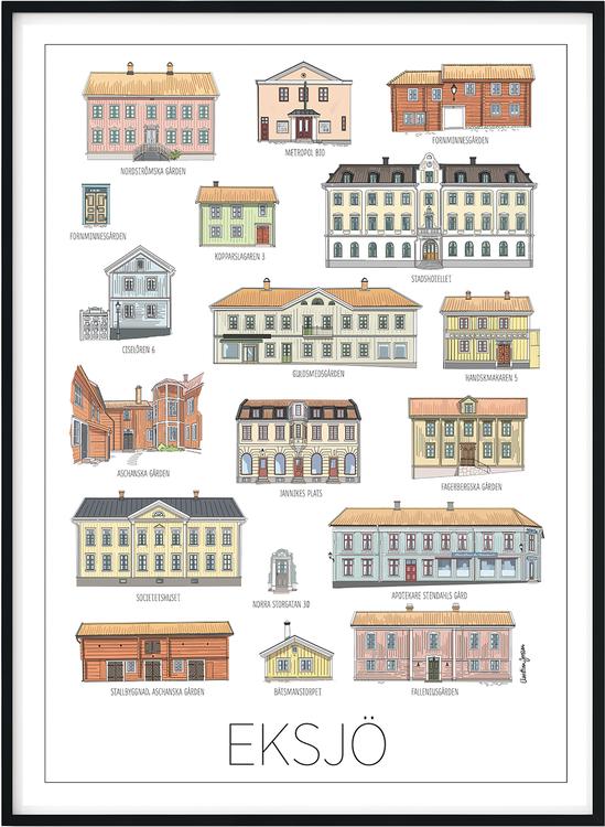 Eksjös vackra hus 30x40 cm print