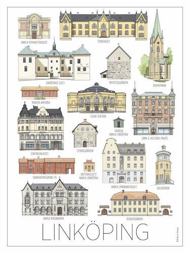 Linköpings hus kort 15x20 cm