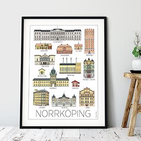 Norrköpingshus poster 30x40 cm