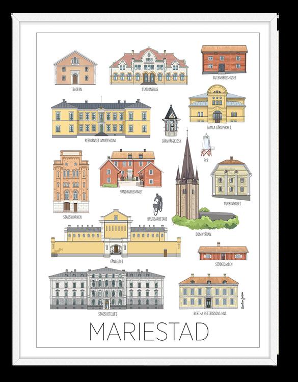 Mariestad hus kort 15x20 cm