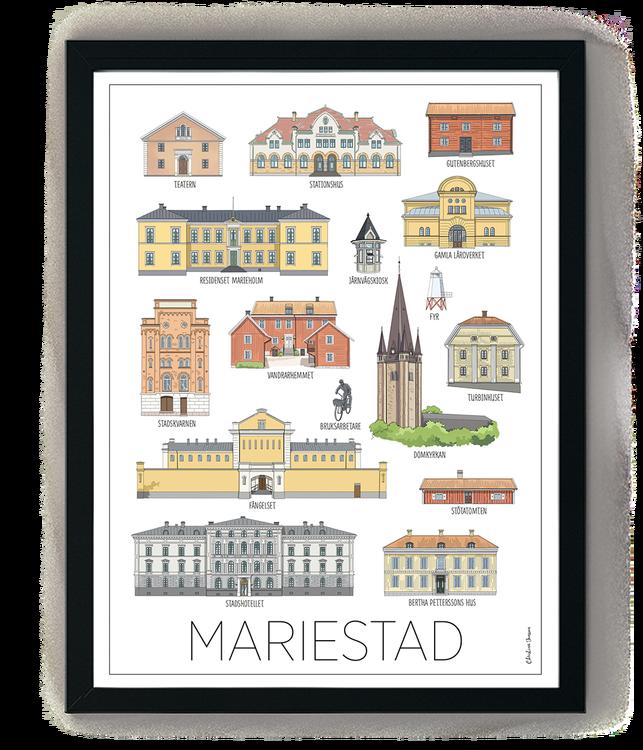 Mariestads hus minitavla 15x20 cm