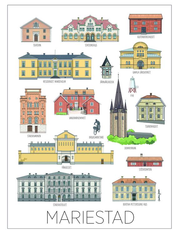 Mariestad Hus print 30x40 cm