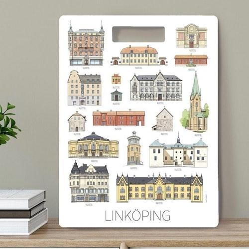 Linköpings hus - skärbräda 30x40 cm