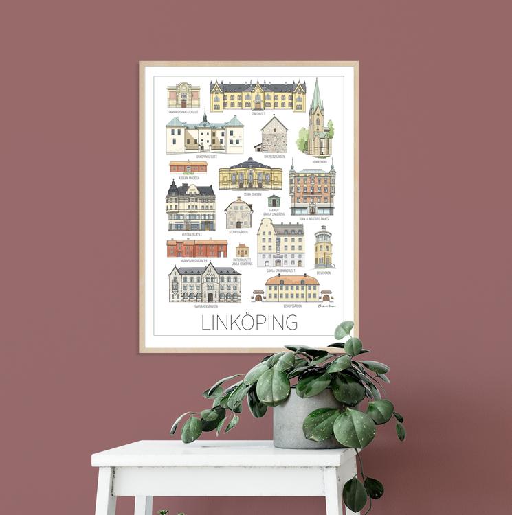 Linköpings hus tavla 30x40 cm