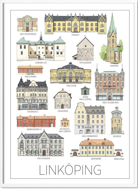 Linköpings hus minitavla 15x20 cm