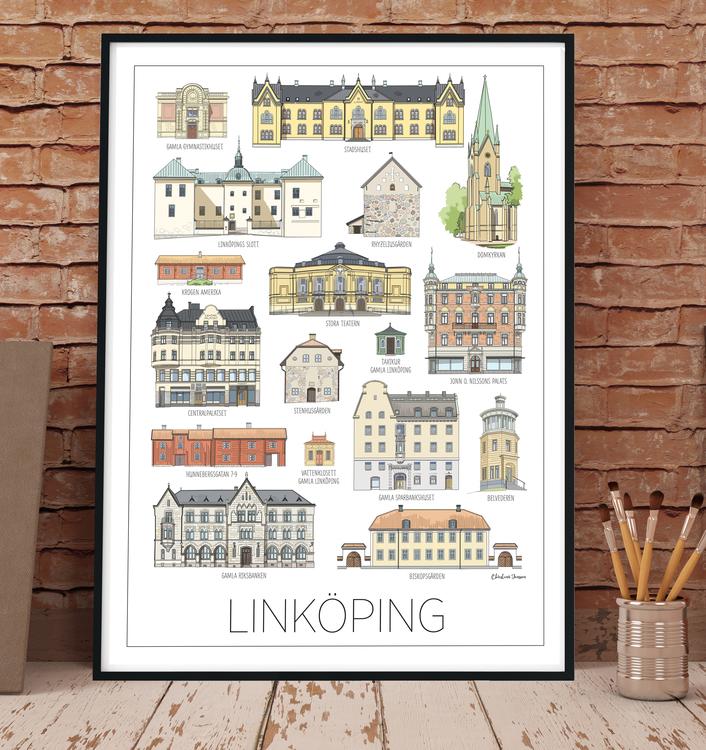 Linköpings hus print 50x70 cm