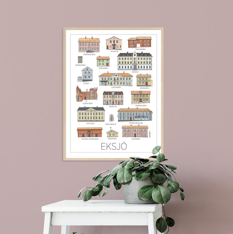 Eksjös vackra hus 50x70 cm print