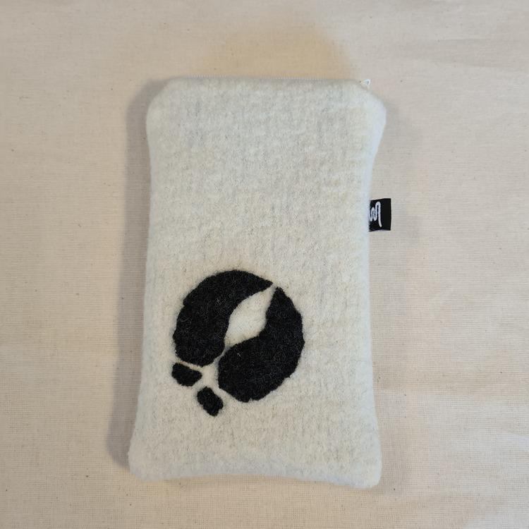 Mobilfodral vit, grått renspår 11x18,5