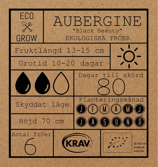 Fröpåse Aubergine Black Beauty, ekologiska och kravmärkta fröer.